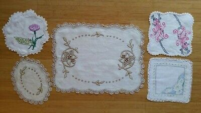 5 vintage hand embroidered doilies – crochet borders