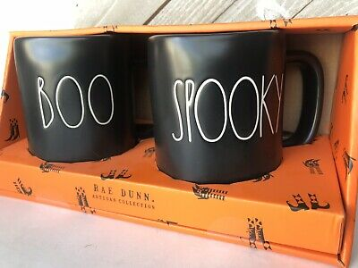 Rae Dunn BOO and SPOOKY Black Halloween Mugs New Set LL By Magenta