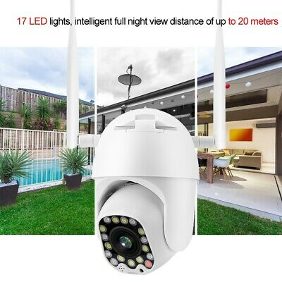 "2.5"" 17/23-LED 1080P HD WiFi Wireless IR PTZ Dome Security Camera Night View"