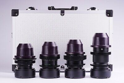 Set of 4 Anamorphic Flare & Bokeh Amber Lenses for Filmmakers with PL Mount