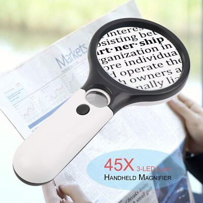 3-LED Light 45X Handheld Magnifier Reading Magnifying Glass Jewelry Loupe qB