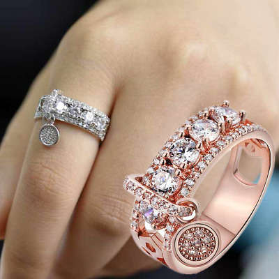 Gorgeous Women 925 Silver Wedding Rings Jewelry White Sapphire Ring Size 6-10