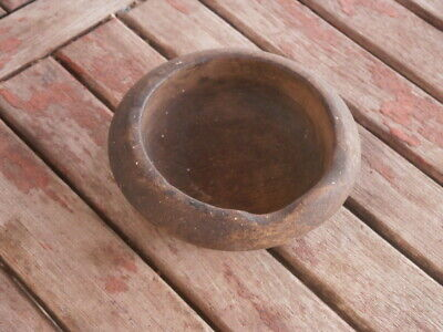 Antique Vintage Wooden Bowl With Dark Patina