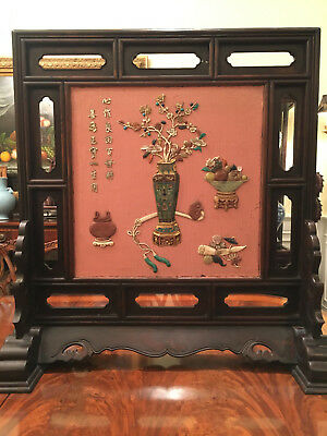 A Large and Rare Chinese Qing Dynasty Table Screen with Gem Stone Inlaid.