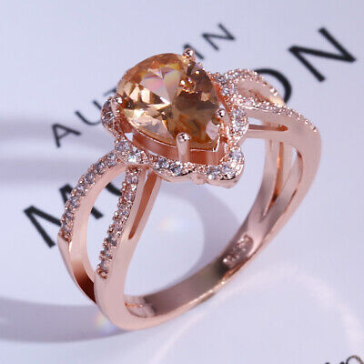 Fashion Rose Gold Filled Wedding Rings Women Champagne Crystal Ring Size 6-10