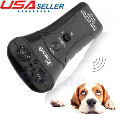 Anti Dog Barking Pet Trainer LED Flashlight Ultrasonic Chaser Animal Repeller US