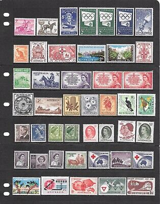 Mixed Coll Of 45 *MNH,MLH* Aust Predecimal Stamps Incl Birds, Flowers, Melb Game
