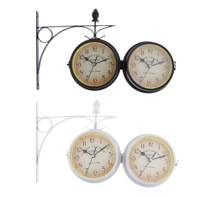 2pcs DOUBLE SIDED DUAL CLOCK STATION GARDEN OUTDOOR WALL MOUNTED