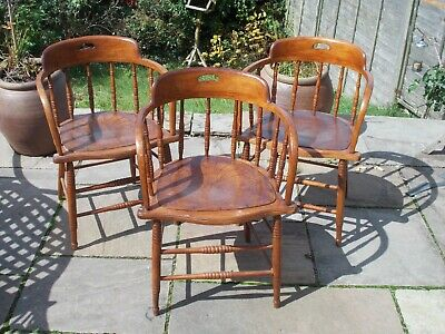early 20th century English wooden carver chairs, good condition.