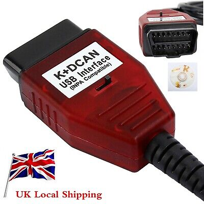 for BMW USB - OBD K + Dcan Diagnostic Cable Switched UK INPA DIS SSS NCS Coding