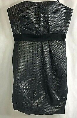 NWT Max And Cleo Metallic Dark Gray Party Dress Size 4 New w/ Tags