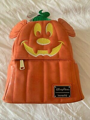 New With Tags NWT Disney Parks Loungefly Halloween Mickey Pumpkin Mini Backpack