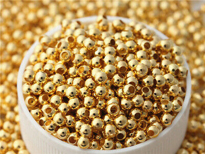500 pcs 3mm Gold plated smooth Beads Charms Spacer Jewelry Making DIY Findings