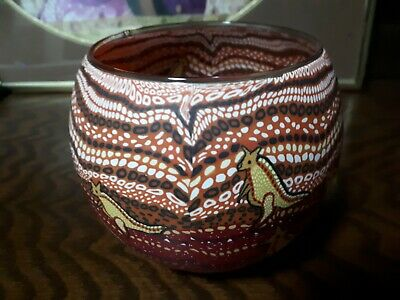 Aboriginal dot painting on glass container