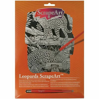 Leopards Scrape Art - Wild Animals Craft Kit  -  Scratch Art