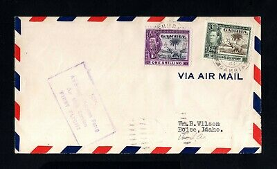 S83-GAMBIA-AIRMAIL COVER SAN JUAN to IDAHO (usa) 1941.WWII.British.FIRST FLIGHT.