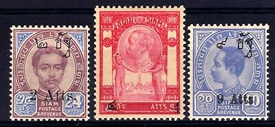 Thailand Siam 1908 Surcharges Hinged Mint Set, Sg 110-112