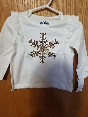 Baby girl 9-12 month OshKosh white snowflake long sleeve shirt! NEW WITH TAGS!