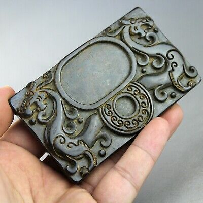 3.8'' China old jade Chinese hand-carved ancient dragon jade ink stone 0402
