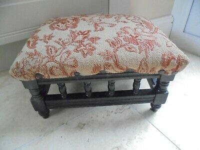Victorian spindle gallery footstool with beige & floral padded seat