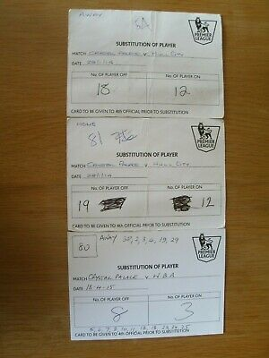 Crystal Palace FC Substitute Cards x 3 Hull City & West Bromwich Albion