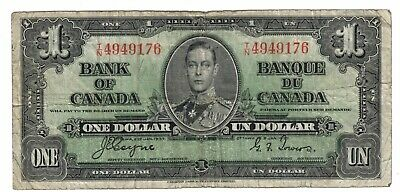 1937 Bank Of Canada One 1 Dollar Bank Note