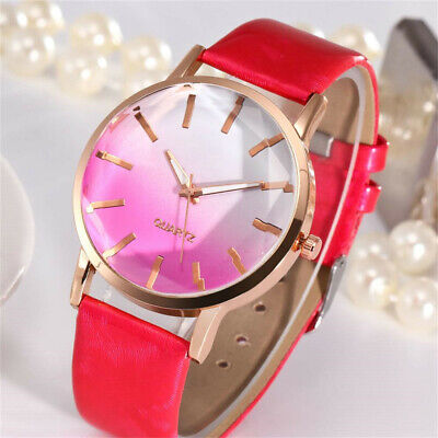Women Ladies Casual PU Leather Strap Stainless Steel Analog Quartz Wrist Watch