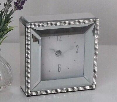 Large Square White //Grey Marble Glass Silver Mirrored Mantel Bed Side Desk Clock
