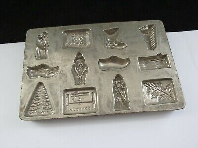 Anttique Cast Steel Chocolate Mould 12 Christmas Themed Patterns