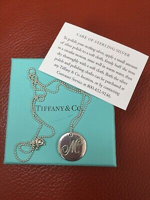 """Tiffany & Co Sterling Silver Disk """"M"""" Letter Inital Pendant Necklace"""