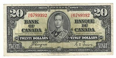 1937 Bank Of Canada Ten  $20 Dollar Bank Note Coyne/Towers  B