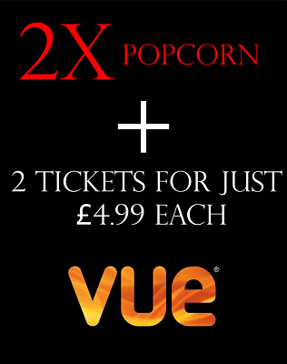X2 Ticket for £4.99 + VUE ANY Cinema Popcorn Medium UK - Code *INSTANT DELIVERY*
