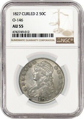 1827 50C Curl Base 2 O-146 Capped Bust Silver Half Dollar NGC AU55