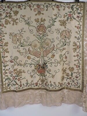 Antique Mid 18Th C Richly Woven And Embroidered Textile With Florals & Snails