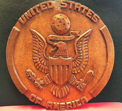 Vtg Hand Carved Wood United States of America Great Seal Wall Plaque