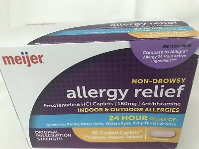 Meijer 24Hr Allergy Relief 30Tablets*Compare to Allegra 24 Hr 180mg,Exp 8/2020