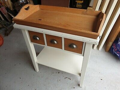 Antique Solid Pine Side Table Unit