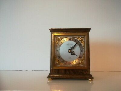 Vintage Wooden Mantle Clock by Elliott Clocks Sold by Mappin & Webb Brass Inlay