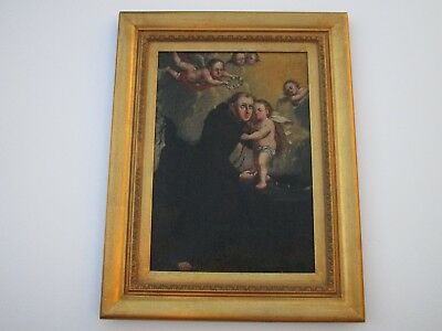 18Th - 19Th Century Old Master Painting Religious Icon Portrait Saint  Angels