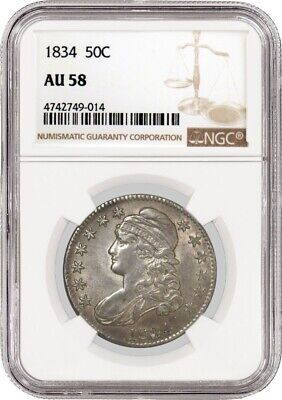 1834 50C Large Date Large Letters Capped Bust Half Dollar Silver NGC AU58