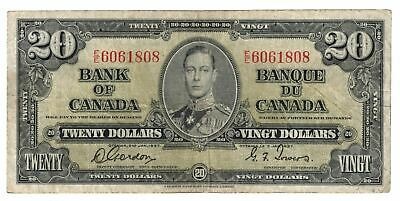 1937 Bank Of Canada Ten  $20 Dollar Bank Note