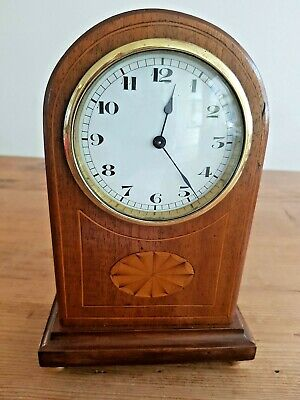 Antique Mantle Clock With Decorative Inlay To Front