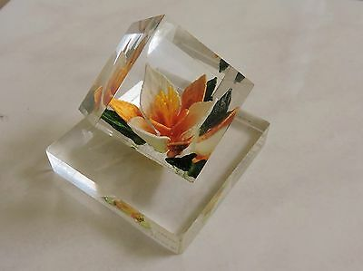 retro MCM LUCITE real EMBEDDED FLOWER paperweight vintage