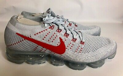 NIKE AIR VaporMax Flyknit Men's Platinum College Red Running Shoes