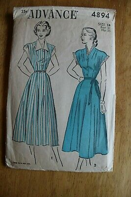 Vintage Advance Dress Women's Sewing Pattern Size 14 - 4894
