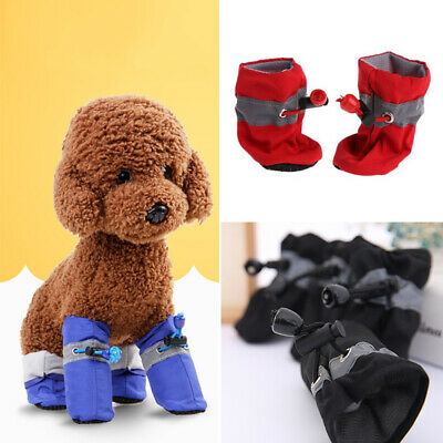 4pcs Dog Shoes Small Dogs Puppy Nylon Booties For Snow & Rain Anti-slip Boots