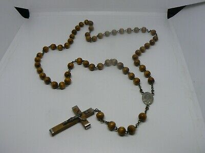 "A Vintage  ""our Lady Of Fatima"" Olive Wood   Catholic  Rosary W/relic"
