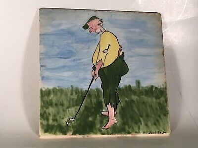 Rare Original Antique Hand Painted Ceramic Tile Golf Scene Artist Signed