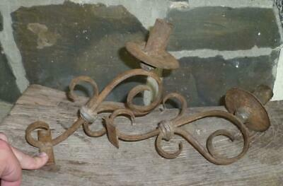 RARE 18th C Antique Wrought Iron PAIR Colonial American Candleholder Candlestick