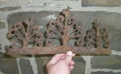 18th C WROUGHT IRON DECORATED UTENSIL RACK FOLK ART COLONIAL ANTIQUE PRIMITIVE